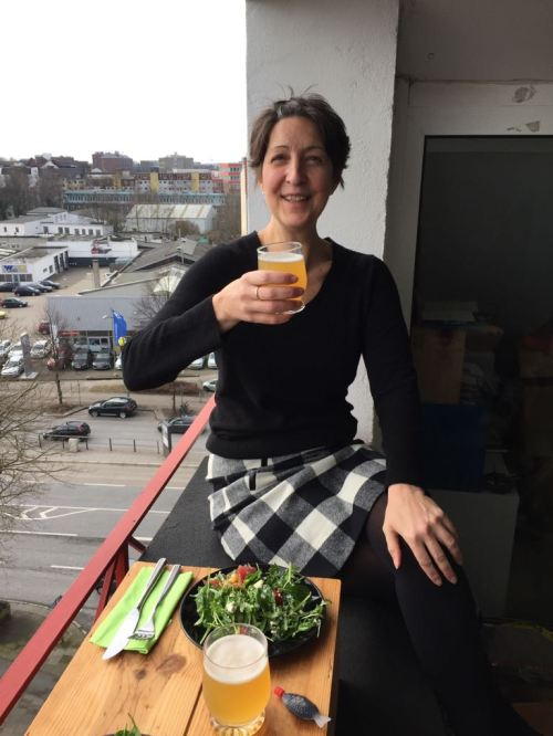 A beery lunch on a balcony in Hamburg, Germany